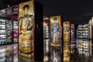 SICIS showroom in Beijing - panels of Chinese emperors and mosaic samples on the background