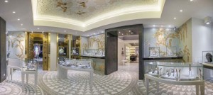 Paris Sicis showroom entrance with marble floors Cosmati and jewels displays