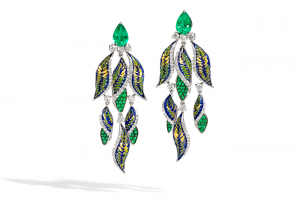 earrings fern emerald diamond mosaic