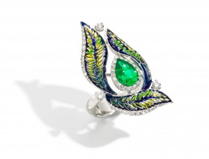 Ring green fern luxury sicis diamond