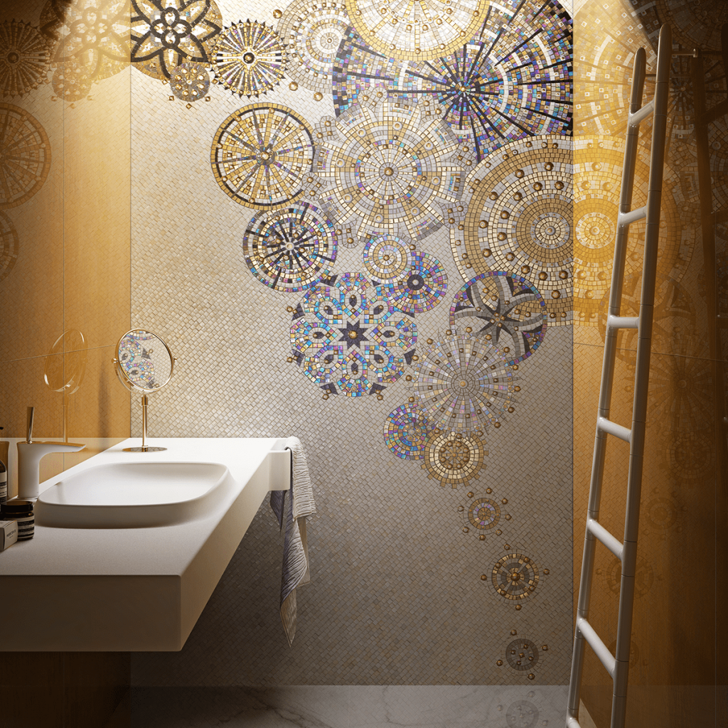 cersaie glass mosaic bathroom