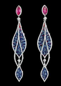 ER 54 Arabesque Ruby Earrings SDW2x BLACK 2