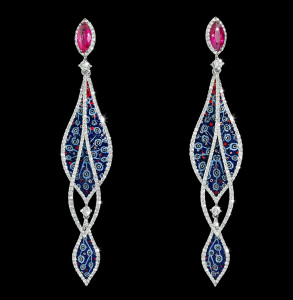 ER 54 Arabesque Ruby Earrings SDW2x BLACK