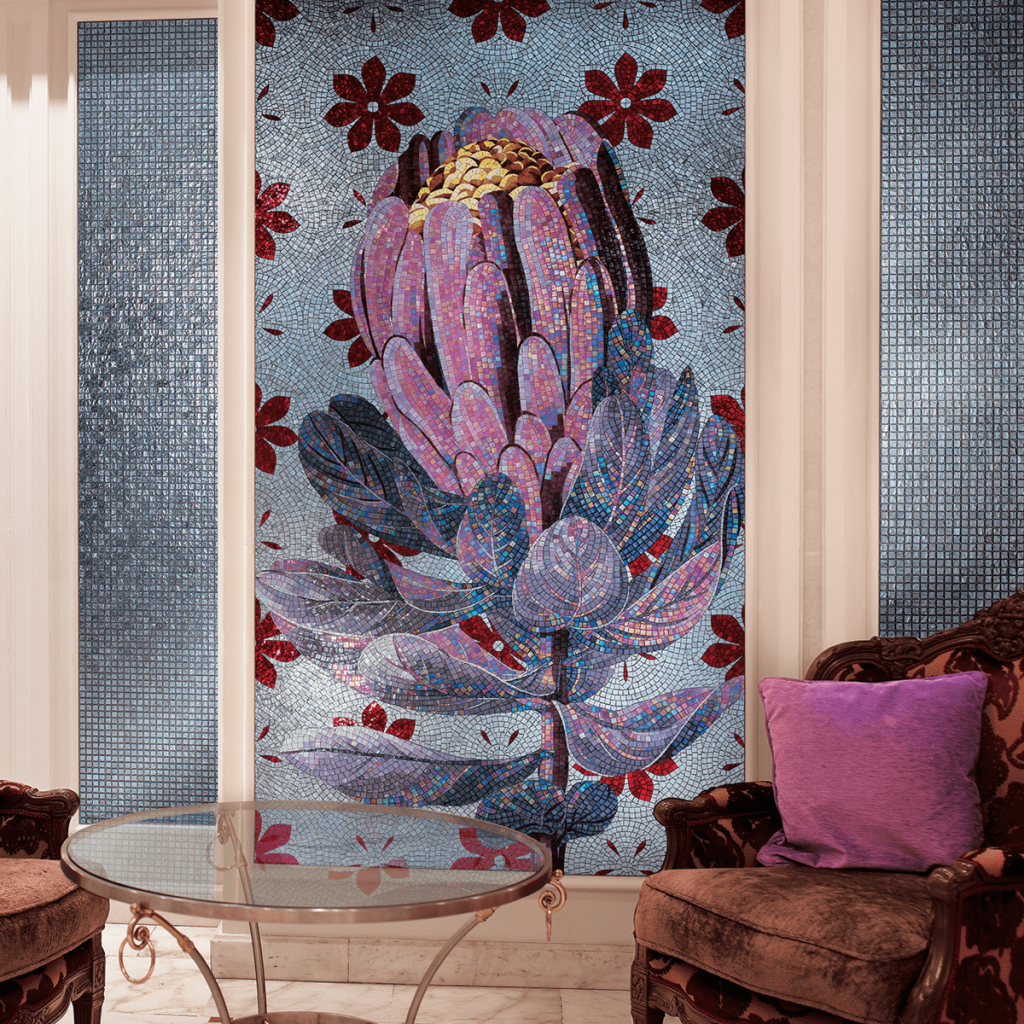 violet mosaic flower living room
